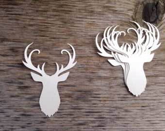 12 Stag Reindeer Invitation Card Making Die Cut Embellishments - your choice of shimmery or matte cardstock