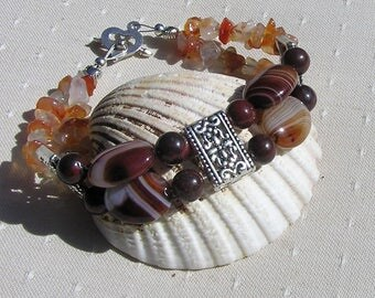 "Coffee Agate, Poppy Jasper & Carnelian Gemstone Crystal Bracelet ""Caramel"" Brown Bracelet, Chakra Bracelet, Gemini Bracelet, Agate Bracelet"