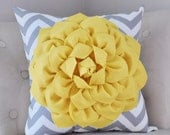 SALE Mellow Yellow Dahlia on Gray and White Zigzag Pillow -Chevron Pillow-