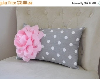 SALE Pink and Gray Home Decor Pillow Light Pink Dahlia Flower on Gray and White Polka Dot Lumbar Pillow 9 x 16 Nursery Rocker Recliner