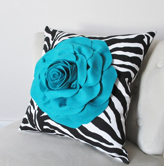 Throw PILLOW, Rose Pillow cover, Decorative Pillow, Rose sham cover. Turquoise, black and white. Zebra Pillow, Animal Print Pillow, Nursery
