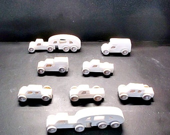 10 Handcrafted Wood Toy Pickups, RVs   OT- 76 unfinished or finished