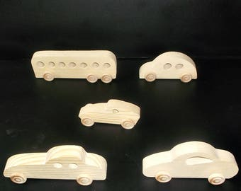 5 Handcrafted Wood Toy Cars, Bus  OT-12  unfinished or finished