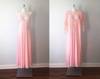 Vintage 1970s Darling Pink Peignoir Set, Darling Toronto, Pink Peignoir Set, Vintage Peignoir, Nightgown Robe Set, Vintage Lingerie