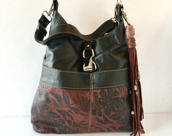"Large leather tote, black, brown, printed, floral design, ""tuscan wildflower"""