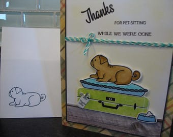 Thank you cards, pet-sitting cards, papertrey ink cards, vacation cards, dog cards, animal cards, friends cards, spoiled animal cards