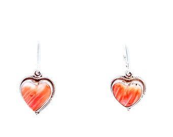 Orange SPINY OYSTER Hearts Earrings Sterling Southwest Style NewWorldGems