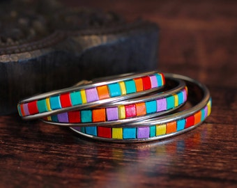 Colorful Leather Bangle Leather Cuff Inset Leather Tile Cut Outs Bright Color Leather Bracelet Summer Accessory Under 50 For Her Jewelry