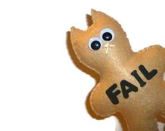 Fail cat, sad plush, gift for a boy, custom stuffed animal, epic fail, acronym, gifts for guys, custom plush, stocking stuffer, soft toys