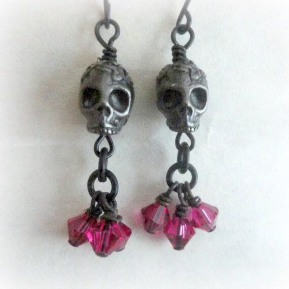 black and pink skull earrings psychobily earrings