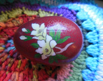 Vintage Cloissone Egg Unique Dual Floral Pattern Red with Blue and White flowers Collectibles