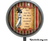 """Funny Pill Case Box """"Emotional Roller Coaster"""" - Vintage Carnival Fun for PMS, Menopause and """"Happy"""" Pills!"""