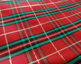 Christmas Fabric- Gold, Red & Green Plaid Fabric- Vintage Christmas fabric, Metallic Synthetic Fabric, Sewing Project, 32 wide x 51 long
