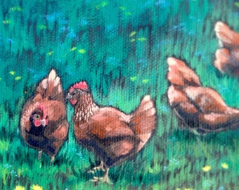 Chicken Painting, Red Hens and Wildflowers, country decor, chicken lady, chicken art, wall art, rustic decor, eggs, gifts for her, kitchen