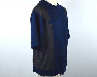 Retro Leisure Short Sleeve Shirt with Pockets, Navy & Dark Gray