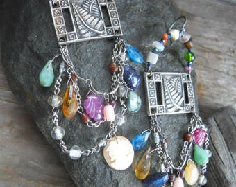 Silver Fern            Vintage Assemblage Earrings Gemstone Rosary Cameo