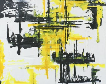 FREE SHIPPING in US**Abstract Painting Urban Art. Modern Original.Black, White, Yellow Textured Oil Painting. Black White Lemon Yellow