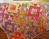 Batik Quilt, Handmade Quilt, Patchwork Quilt, Lap Quilt, Quilted Throw, Homemade Quilt, Sofa Quilt, Home Decor, Quilts