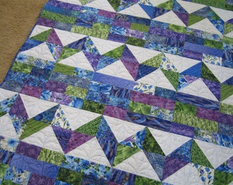 Handmade Quilt, Patchwork Quilt, Lap Quilt, Quilted Throw, Homemade Quilt, Sofa Quilt, Home Decor, Blue Green Purple Quilt