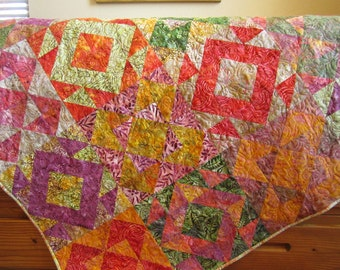 Batik Quilt, Handmade Quilt, Patchwork Quilt, Lap Quilt, Quilted Throw, Homemade Quilt, Sofa Quilt, Home Decor, Quilts