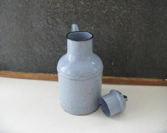 Vintage Blue Enamel Milk Jug, Speckled, pitcher