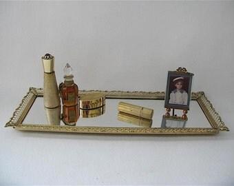 Vintage Gold Vanity Mirror Frame, tray, long, rectangular, hollywood regency