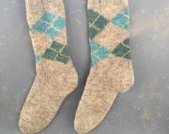 Vintage Wool Men's Argyle Socks, Handmade, ski socks, blue green