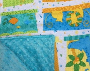 """Baby Blanket Zoo Animals Flannel With Bright Blue Minky Back 29"""" x 35"""""""