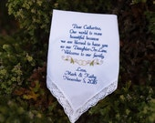 Wedding Gift to Daughter In Law Embroidered Wedding Handkerchief Wedding Gift for Daughter by Canyon Embroidery