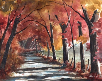 """Landscape Watercolor Painting, """"Arch of Autumn"""" - Fine Art Archival Print- Signed Giclée- Limited Edition Art by Laura D. Poss"""