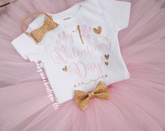 Valentines Day Outfit; Baby Girl Outfit; Valentine's Day outfit; valentines dress; baby girl 1st valentine onesie; valentine tutu; glitter