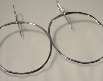 Large Organic Oval Sterling Hoops