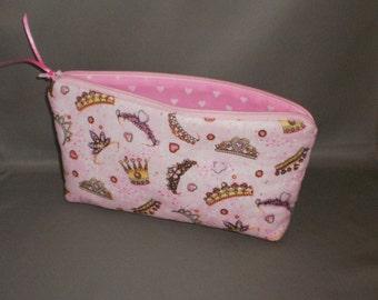 Cosmetic Bag - Makeup Bag - Large Zipper Pouch - Crown - Tiara - Queen - Princess