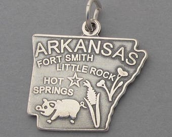 New Sterling Silver .925 Charm Pendant ARKANSAS State Map SC603