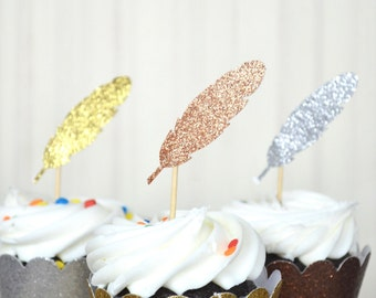 Glitter Feather Cupcake Toppers - choose from Gold, Copper, Silver or Bronze!