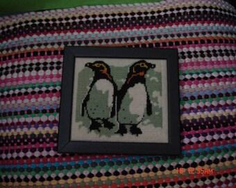Vintage Framed Hand Crewel/Needlepoint Penguins - Nice