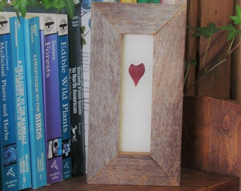 One of a Kind Valentine Red Heart Leaf in Handmade Reclaimed Barn Wood and Upcycled Glass Frame, Botanical Gift Idea Keepsake Made in Canada