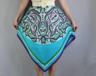 60s Summer Skirt, Boho Skirt, Mod Skirt, Hippie Skirt, Handkerchief Skirt, Purple, Aqua, Cotton, Beach Coverup, Festival Skirt, Size Large