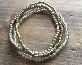 Set of 3 Beaded Stacking Bracelets: Bronze