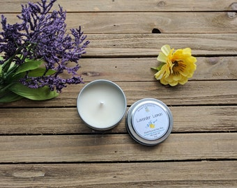 2 oz. Lavender Lemon Soy Candle, Scented Candle, Candle Tin, Mini candle | Spring Collection