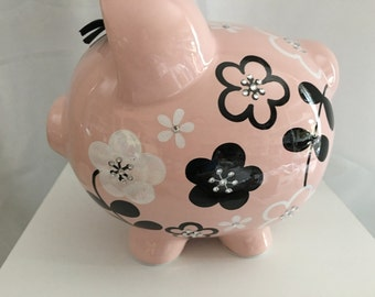 Personalized Large Pink bank  Black and white  flowers Piggy  Bank Newborns , Birthday Flower Girl,Baby Shower Gift Centerpiece