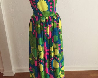 Vibrant MOD Tropical Floral Vintage SYDNEY Honolulu Hawaii Palazzo Pant Jumpsuit S with a Few Spots