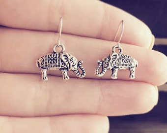 Elephant Earrings / Under 10 Gift Small Everyday Bridesmaids Bridal Party Wedding Gifts Favors Boho Bohemian Lover Simple Gypsy Style