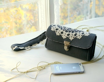 Vintage lace, Smartphone wallet clutch - medium/ phone case wallet women gift for her, dark slate roomy iphone plus quality -  READY TO SHIP