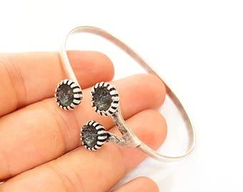 Bracelet Blanks Bangle Blanks Cuff Blanks Adjustable Bracelet Blank Antique Silver Plated Brass (3 Pcs 8mm Blanks ) G7620
