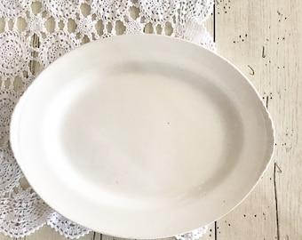 Vintage White Ironstone Platter Farmhouse Chic Kitchen Nautilus