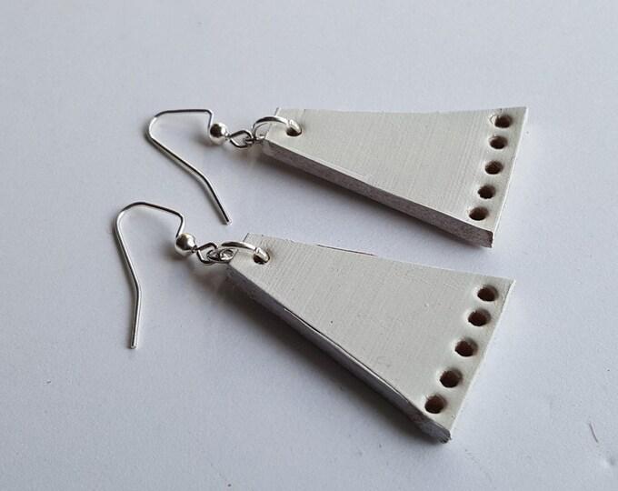 White Leather Dangle Earrings & Gift Bag Boho Beach Wedding Jewelry Lightweight Geometric Earrings Handmade Gift for Her Bridesmaid Gift
