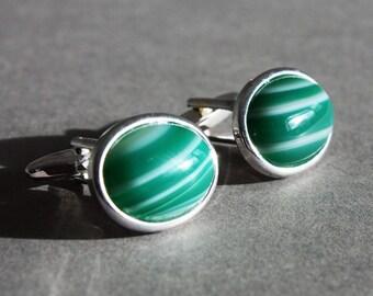 Green striped agate cufflinks, green gemstone cuff links