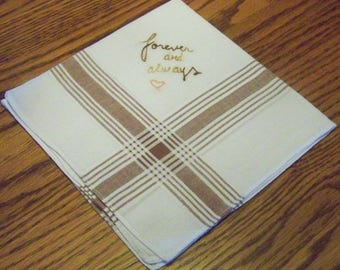 Men's Handkerchief, Hanky, Hankie, Forever, Brown, Groom, Striped, Hand Embroidered, Ready to ship
