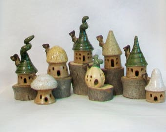 Fairy Houses  - Garden Fairy Houses - You Pick  3-8 - or more Houses - Handmade on the Potters Wheel -- You Choose - Actual Houses